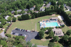 Aerial view of front pool